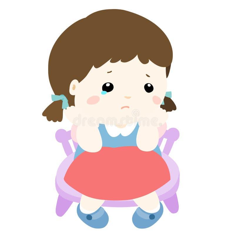 Menina triste no fundo branco ilustração stock
