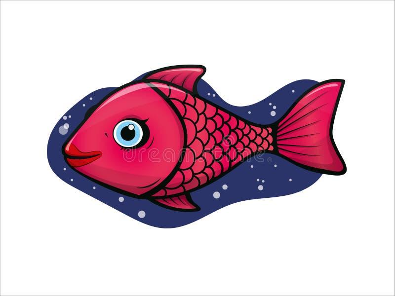 Menina tropical dos peixes do palhaço do aquário alegre, bonito do rosa ilustração royalty free