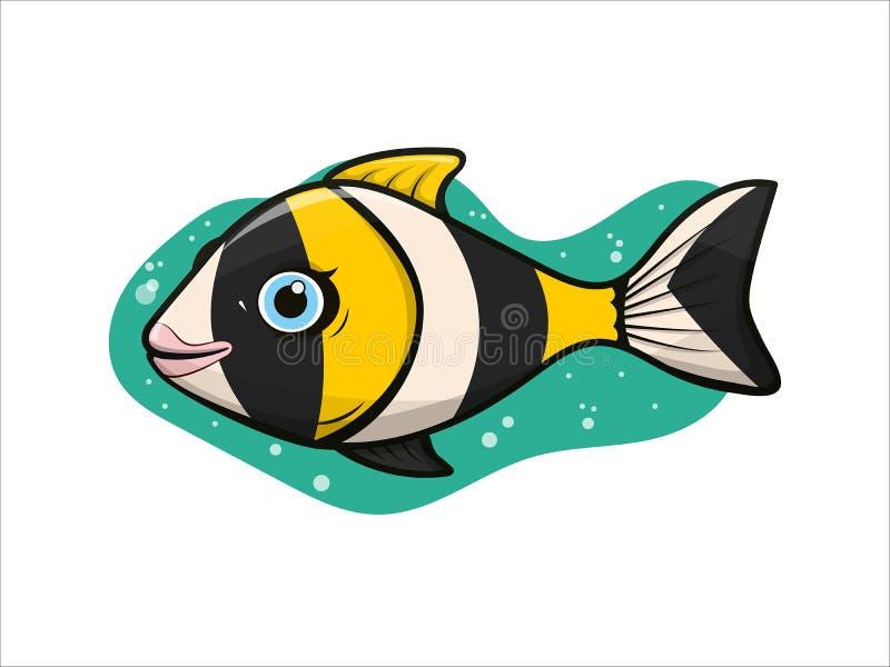 Menina tropical dos peixes do palhaço do aquário listrado alegre, bonito ilustração royalty free