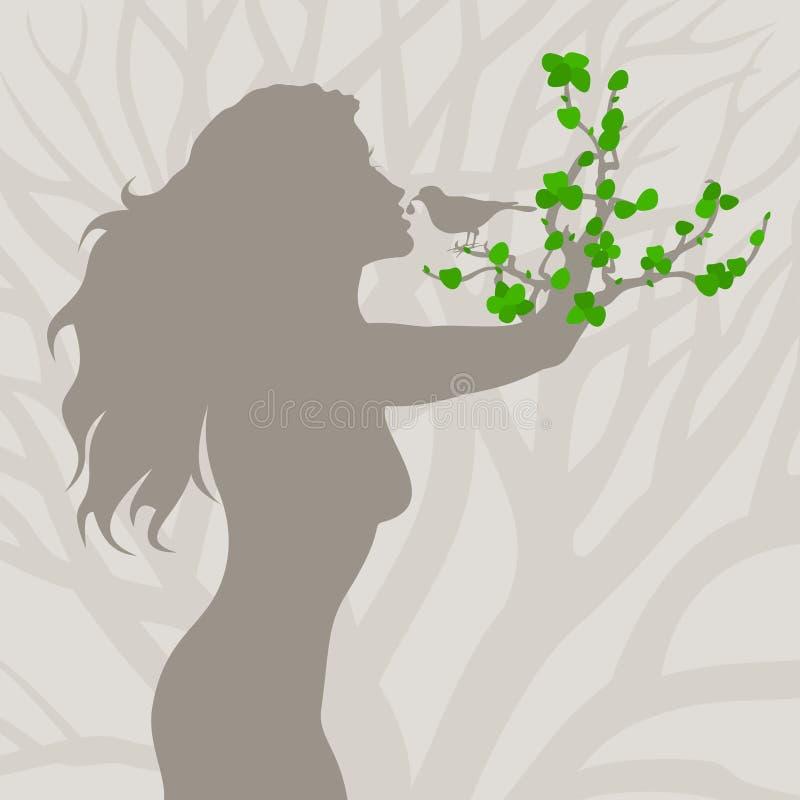 Menina uma árvore ilustração royalty free