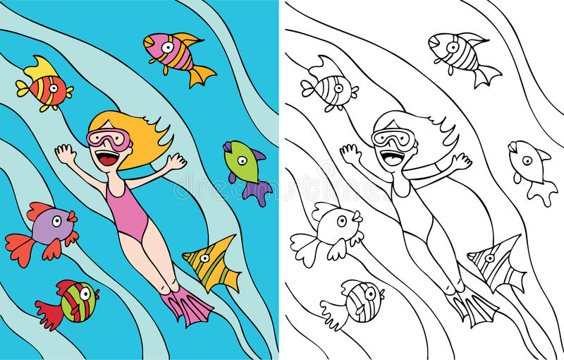 A menina vai snorkeling ilustração royalty free