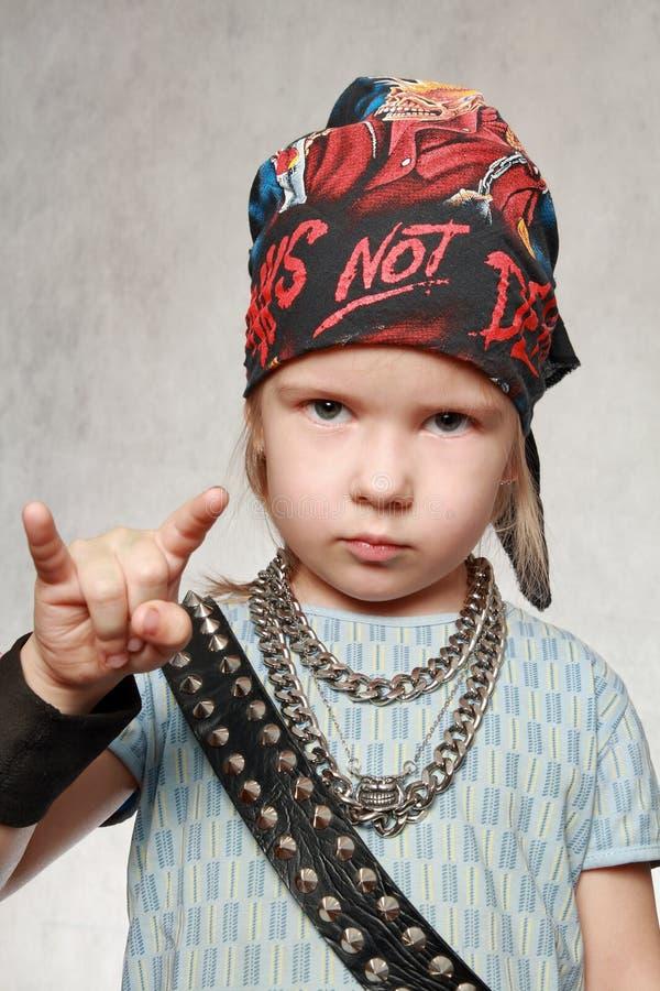 Menina-ventilador da rocha-música imagem de stock royalty free