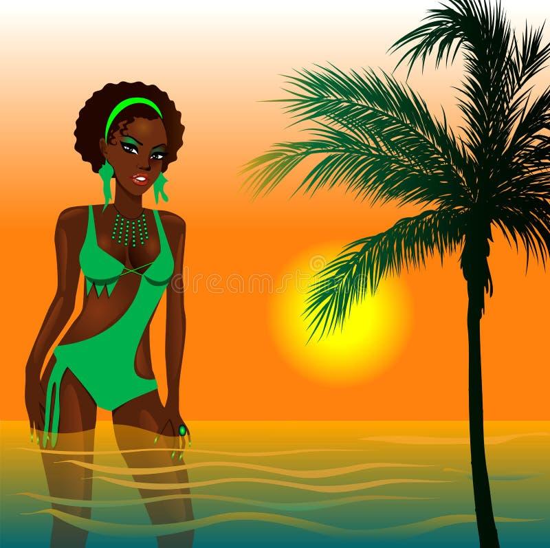 Menina verde da praia ilustração royalty free