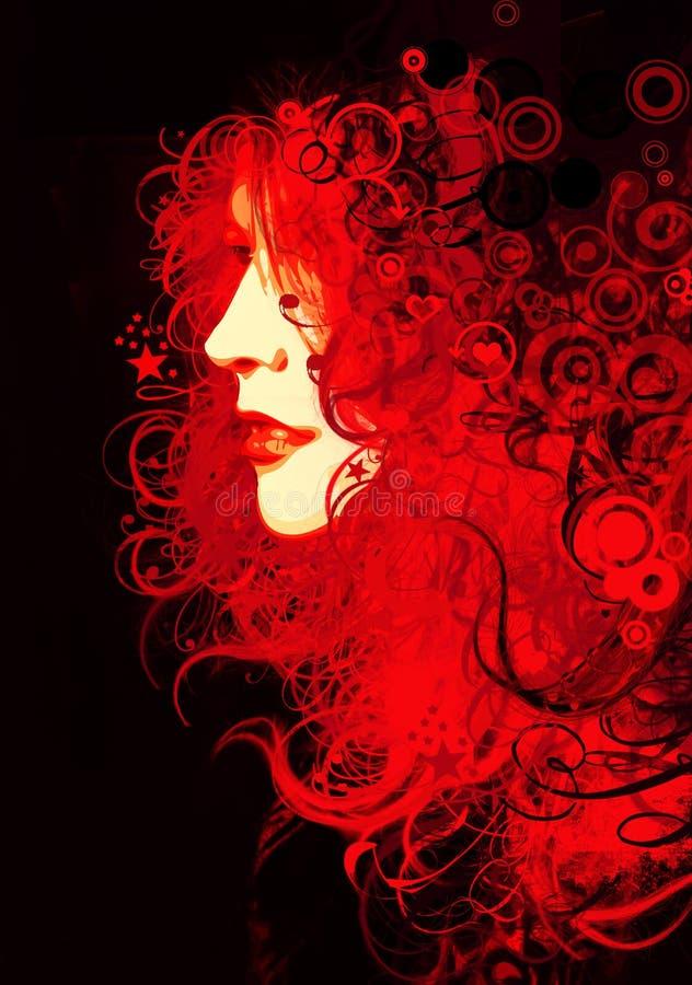 Menina vermelha ilustração stock