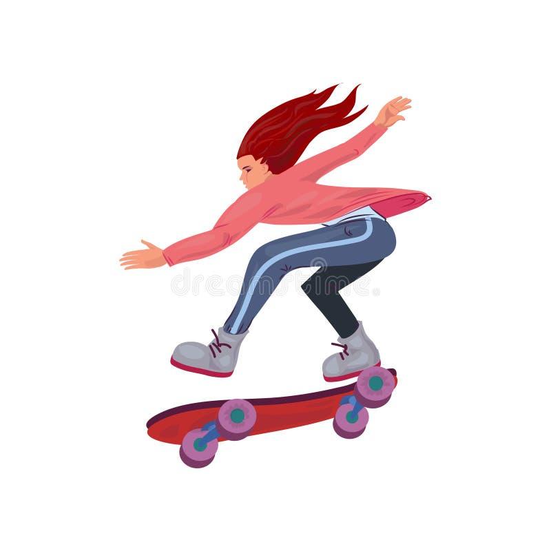 Menina vermelha bonito do cabelo que monta muito rapidamente no skate ilustração royalty free