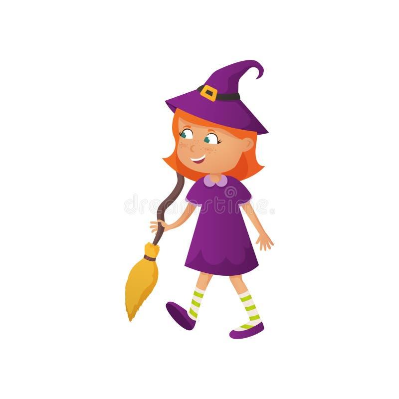 Menina vermelha de sorriso bonito do cabelo no traje do Dia das Bruxas da bruxa ilustração do vetor