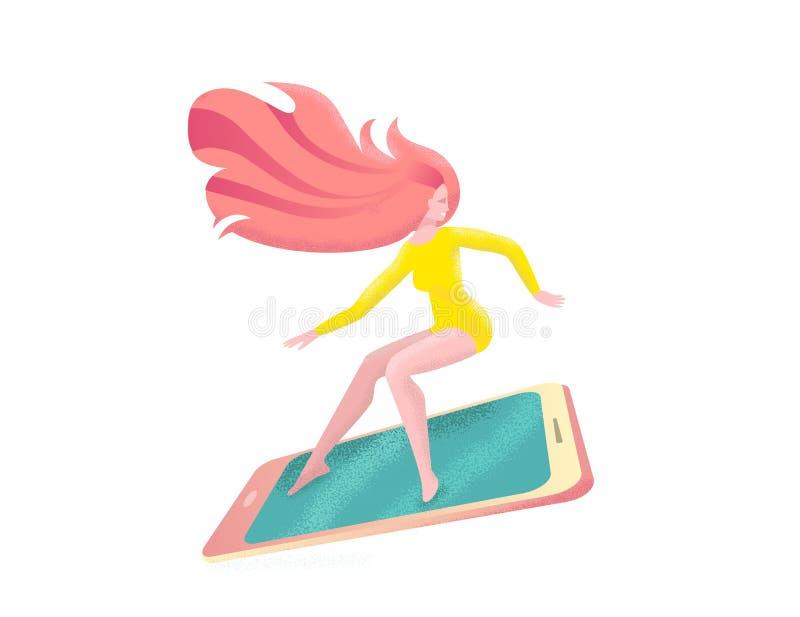 Menina vermelha do cabelo no smartphone surfando do roupa de banho com pressa ? venda Ilustra??o lisa moderna com texturas no est ilustração do vetor