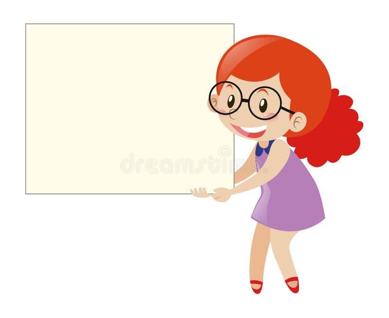 Menina vermelha do cabelo que guarda a placa vazia ilustração royalty free