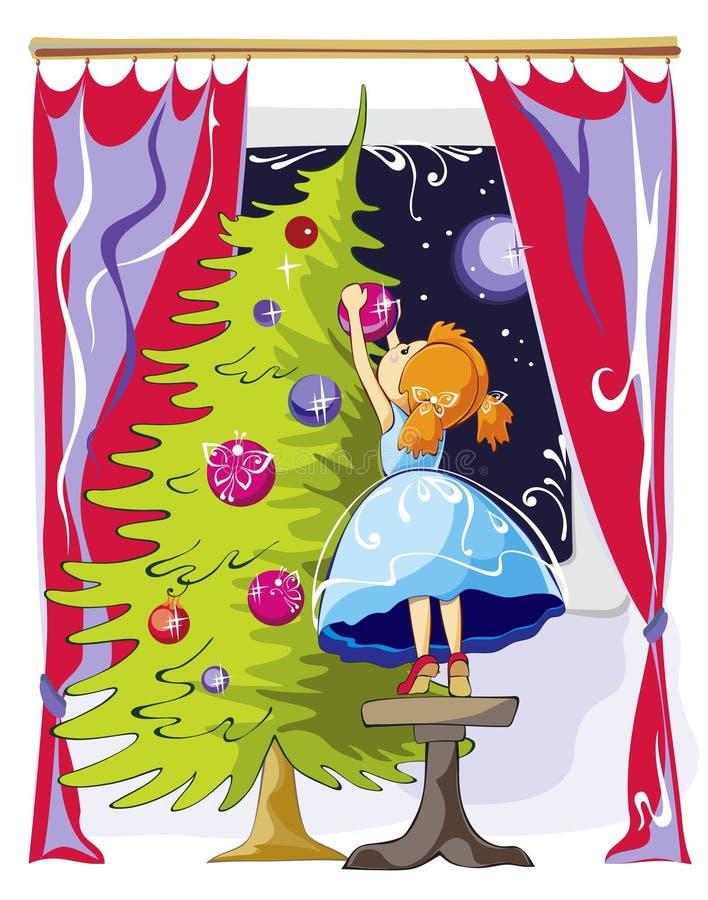 A menina veste acima a árvore de Natal ilustração stock