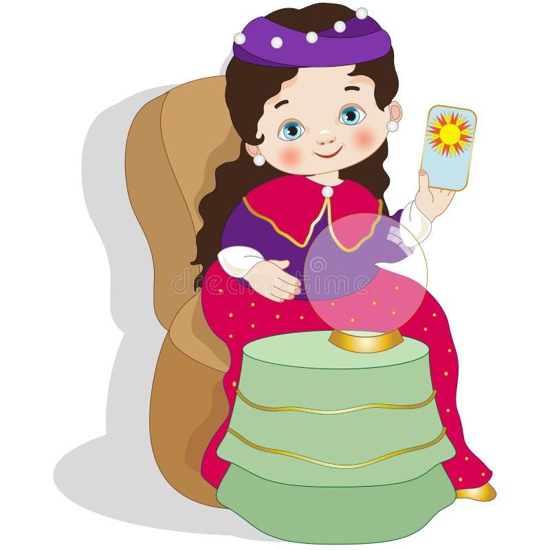 Menina vestida como o caixa de fortuna ilustração royalty free