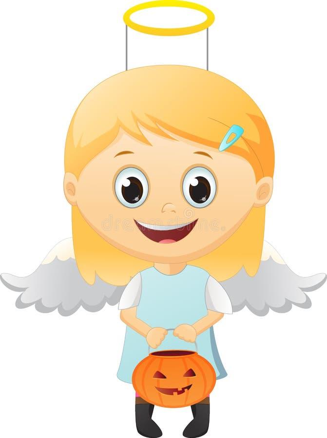 Menina vestida como um anjo ilustração royalty free