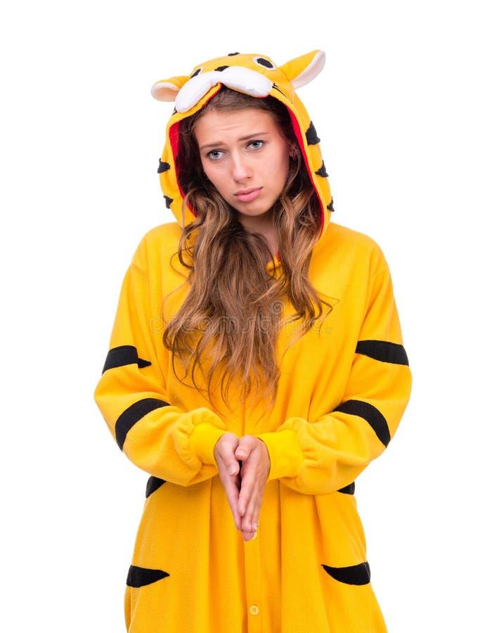 Menina vestida como um tigre fotografia de stock