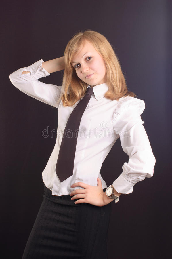 Menina vestida como uma senhora do negócio fotos de stock