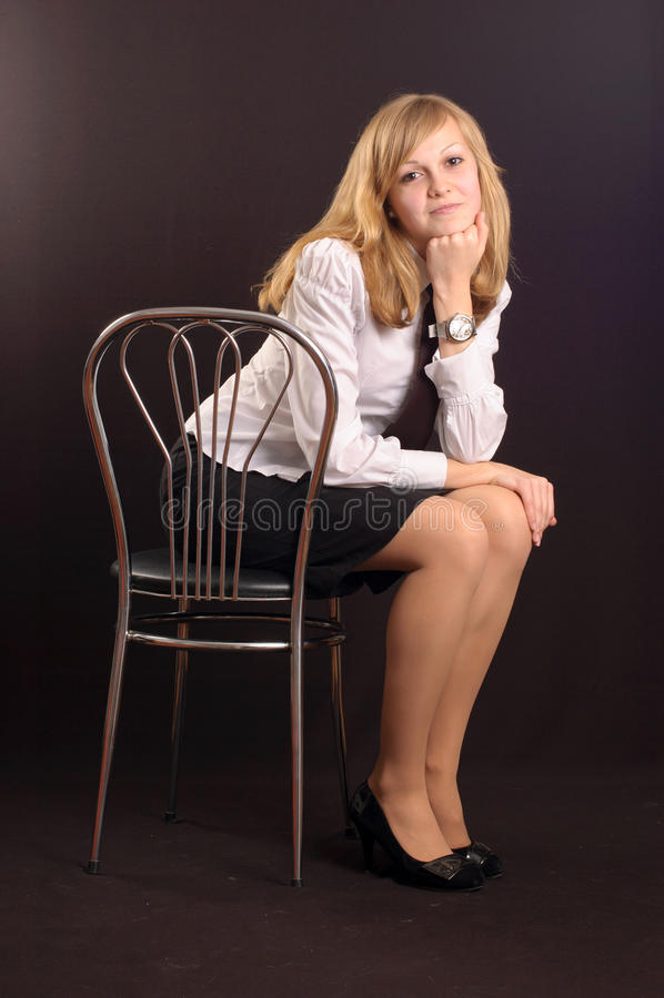 Menina vestida como uma senhora do negócio fotografia de stock royalty free