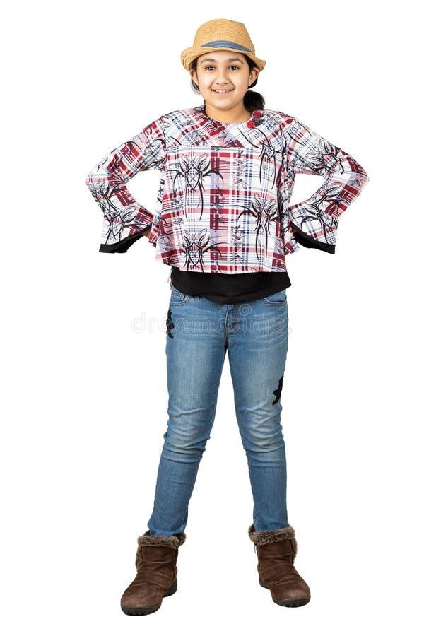 Menina vestida como uma vaqueira, isolado, branca fotografia de stock royalty free