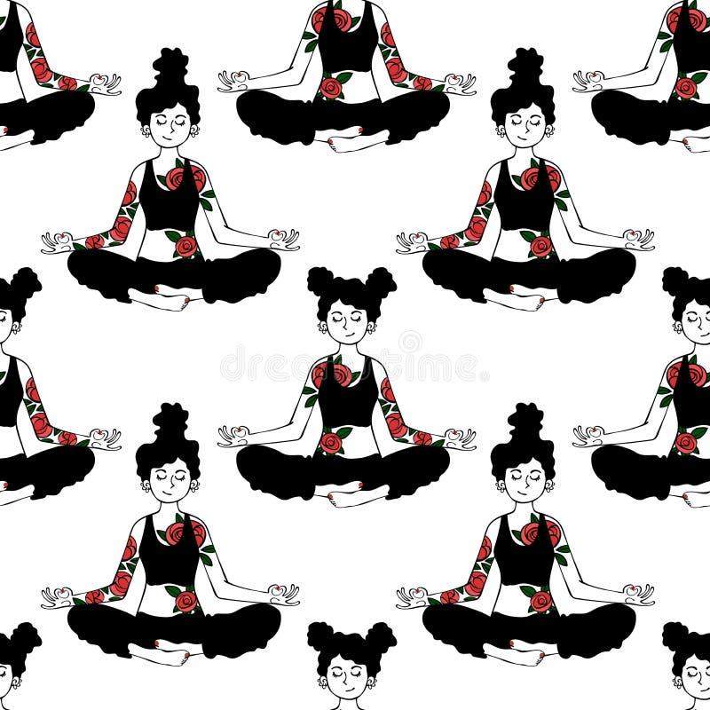 Menina yoga Pose de Lotus Fundo sem emenda do teste padrão do vetor fotografia de stock royalty free
