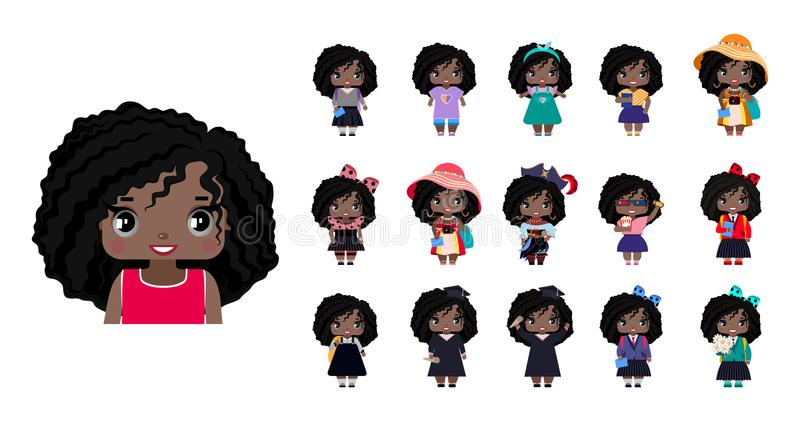 Meninas afro-americanos pequenas bonitos do vetor ilustração stock
