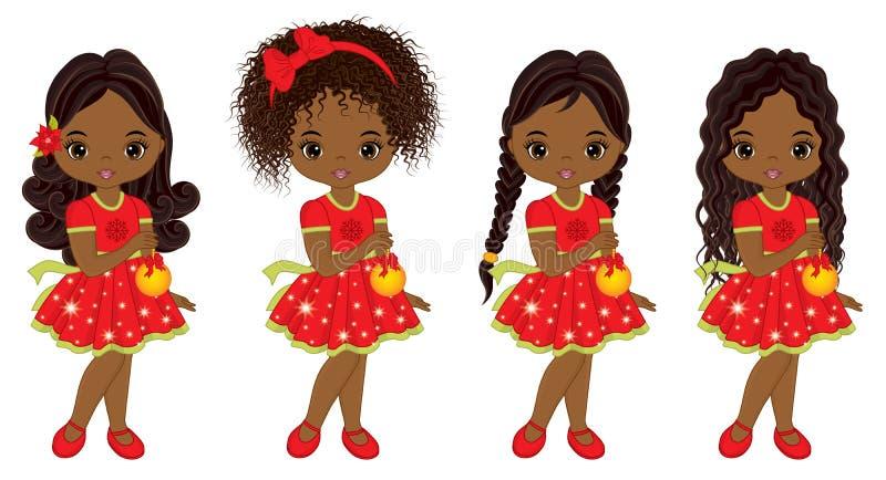 Meninas afro-americanos pequenas bonitos do vetor com bolas do Natal ilustração stock
