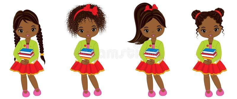 Meninas afro-americanos pequenas bonitos do vetor com livros ilustração stock