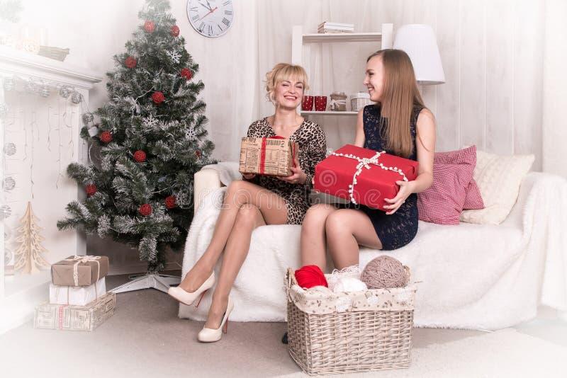 Meninas agradáveis na sala antes do Natal foto de stock royalty free