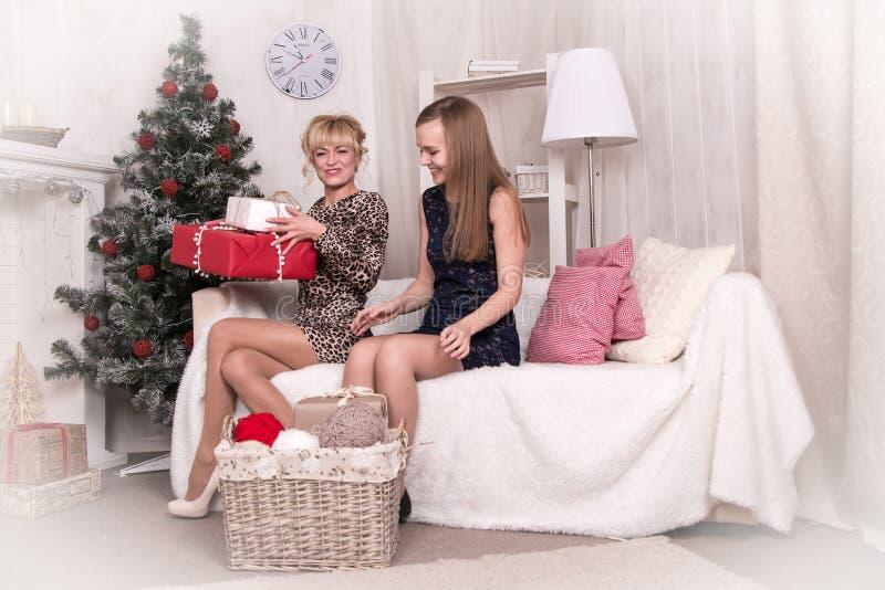 Meninas agradáveis na sala antes do Natal fotos de stock