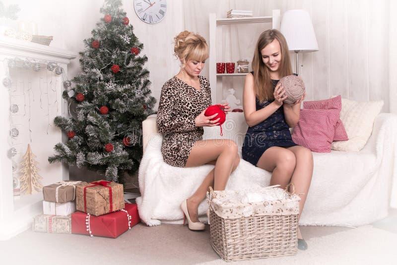 Meninas agradáveis na sala antes do Natal imagens de stock royalty free