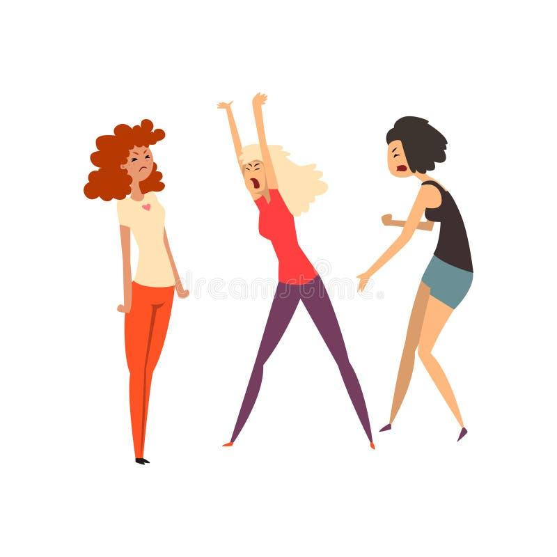 Meninas agressivas que discutem e que juram, meninas que discutem um com o otro a ilustração do vetor em um fundo branco ilustração stock