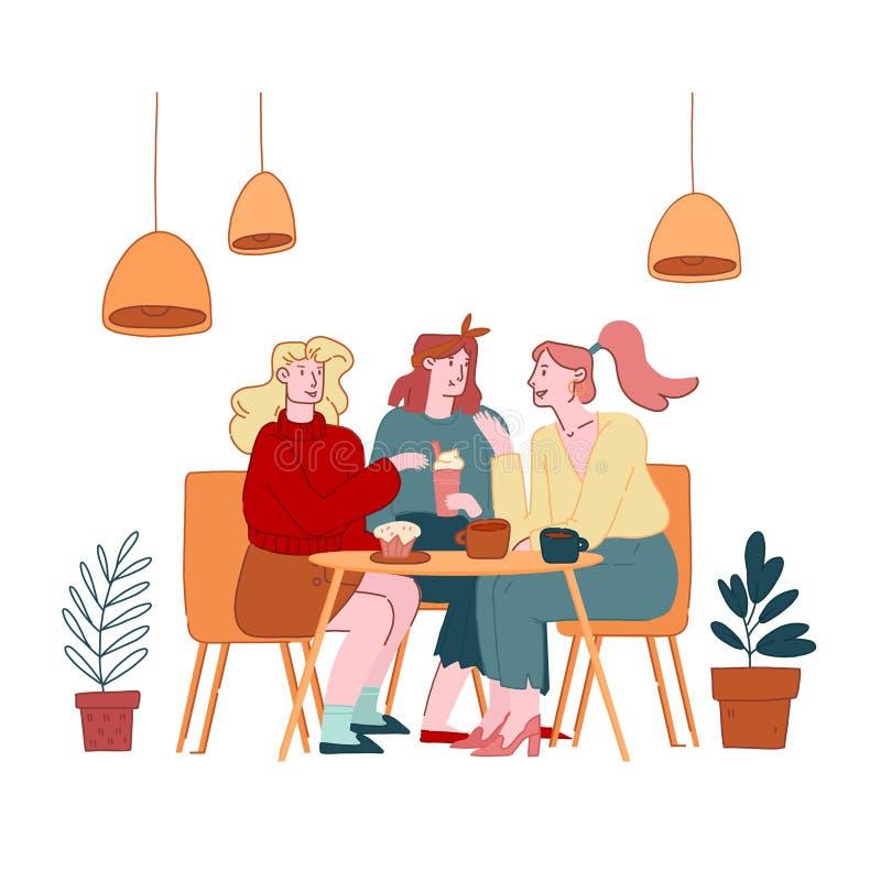 Meninas Amigas Companhias Personagens Femininas Sentadas em Café Chatting e Bebendo Café com Pastelaria e padaria ilustração do vetor