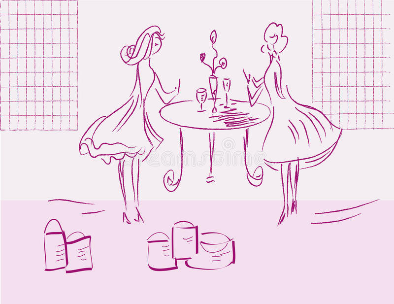Meninas após a compra ilustração royalty free