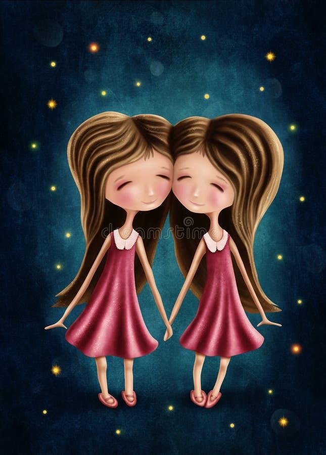 Meninas astrológicas do sinal dos Gêmeos ilustração royalty free