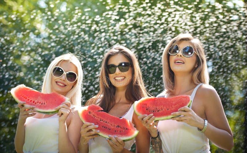 Meninas bonitas com óculos de sol que comem a melancia fresca e os sorrisos Jovem mulher feliz que come a melancia no parque esti fotografia de stock royalty free