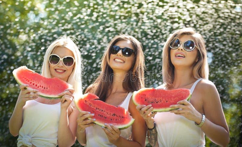 Meninas bonitas com óculos de sol que comem a melancia fresca e os sorrisos Jovem mulher feliz que come a melancia no parque esti imagens de stock
