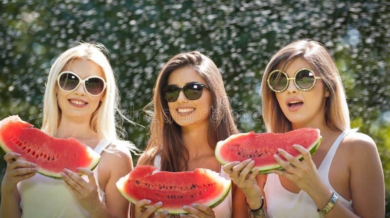 Meninas bonitas com óculos de sol que comem a melancia fresca e os sorrisos Jovem mulher feliz que come a melancia no parque esti imagem de stock royalty free