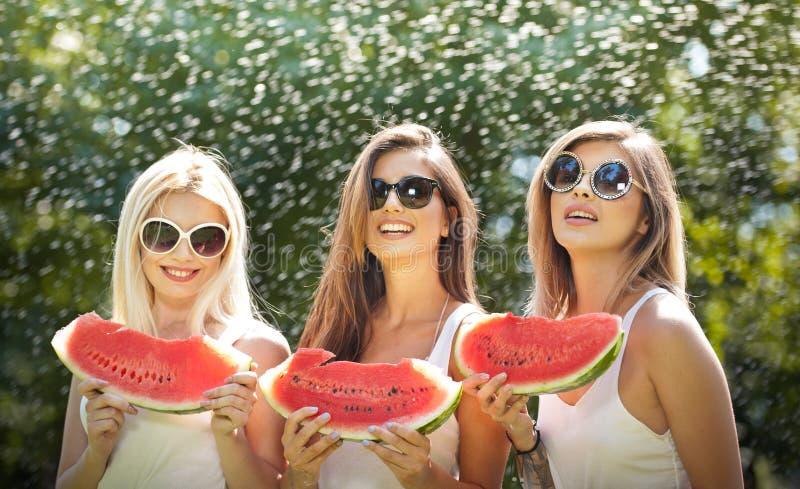 Meninas bonitas com óculos de sol que comem a melancia fresca e os sorrisos Jovem mulher feliz que come a melancia no parque esti imagens de stock royalty free
