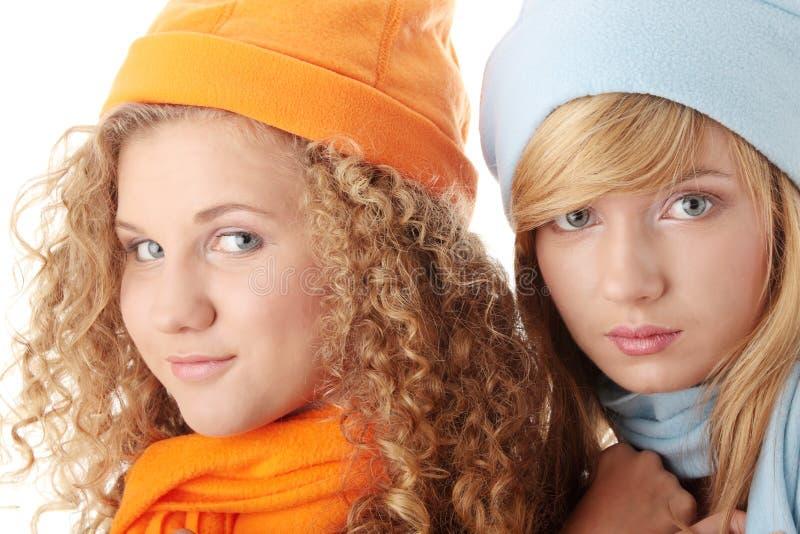 Meninas bonitas do inverno foto de stock royalty free