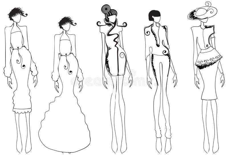 Meninas bonitas do lineart ilustração do vetor