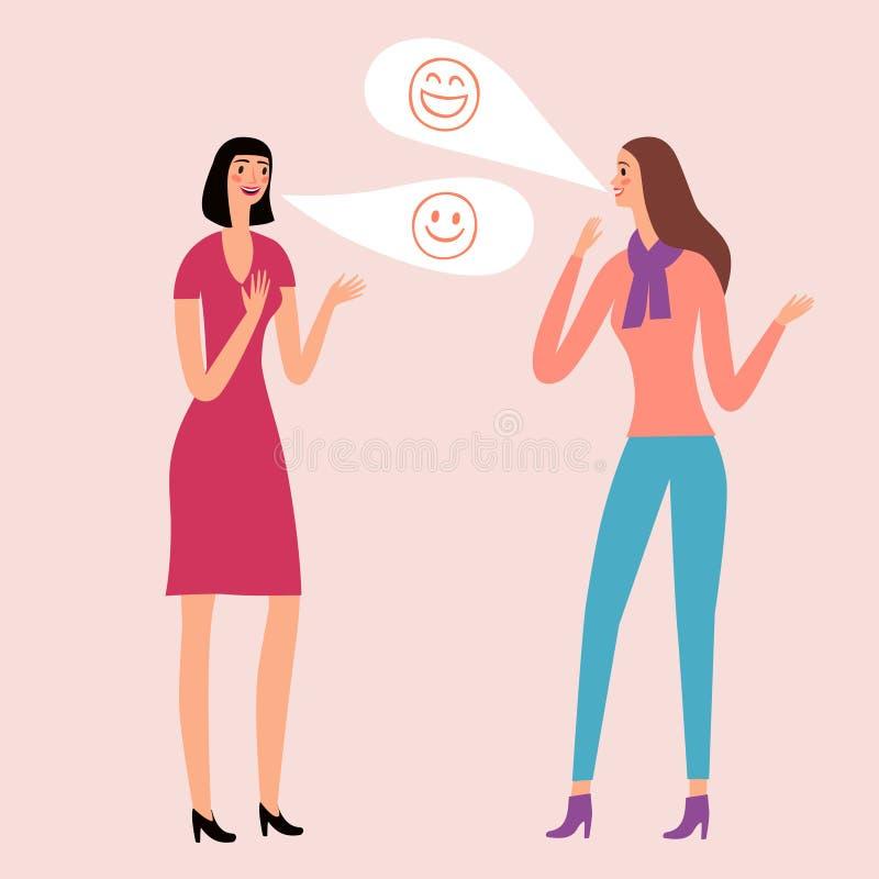 Meninas bonitas dos desenhos animados que falam e que riem ilustração royalty free