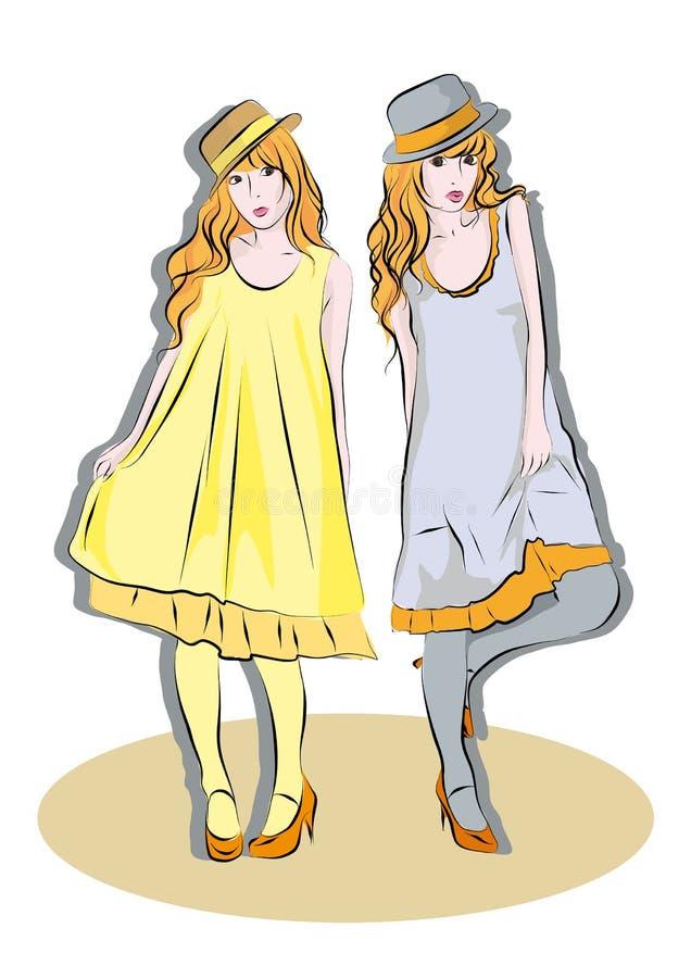 Meninas bonitas nos chapéus ilustração do vetor