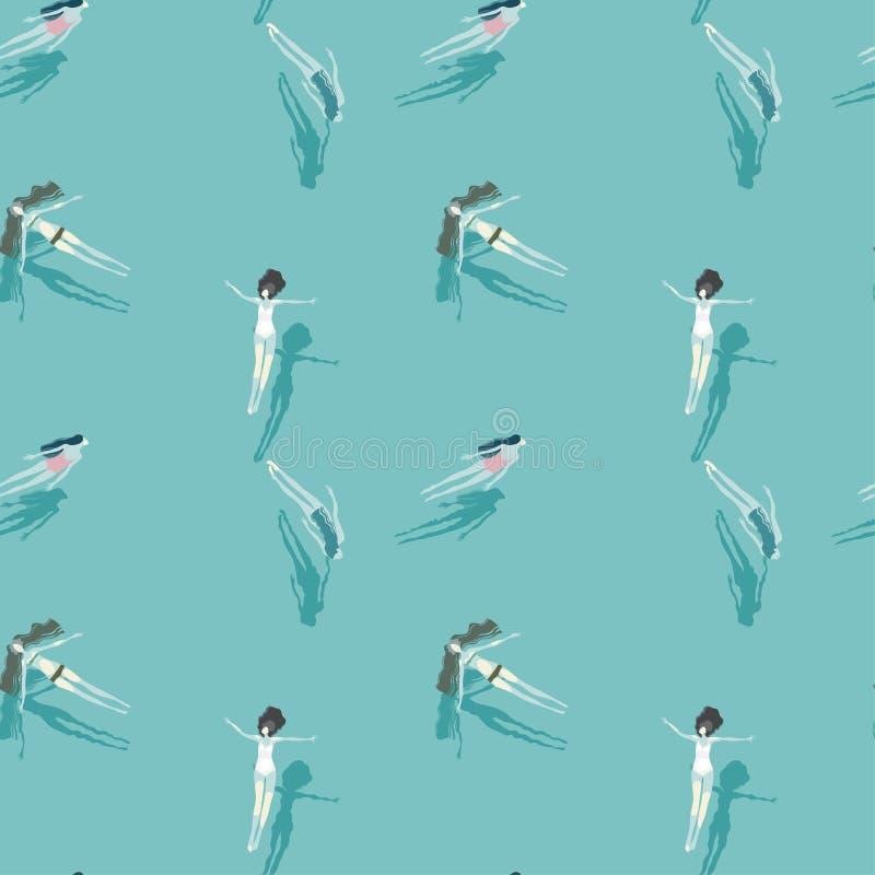 Meninas bonitas que nadam em uma associação azul ilustração royalty free