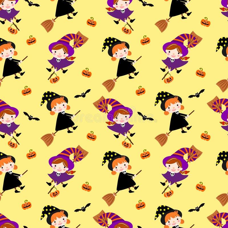 Meninas bonitos da bruxa no fundo amarelo brilhante Teste padrão sem emenda para Halloween ilustração stock