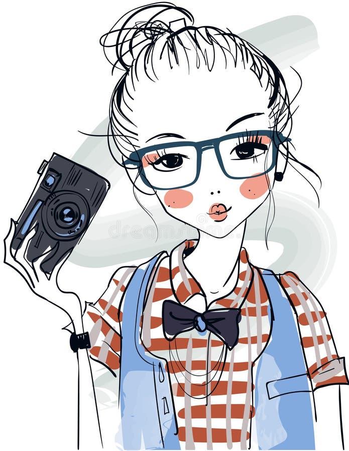 Meninas bonitos dos desenhos animados ilustração do vetor
