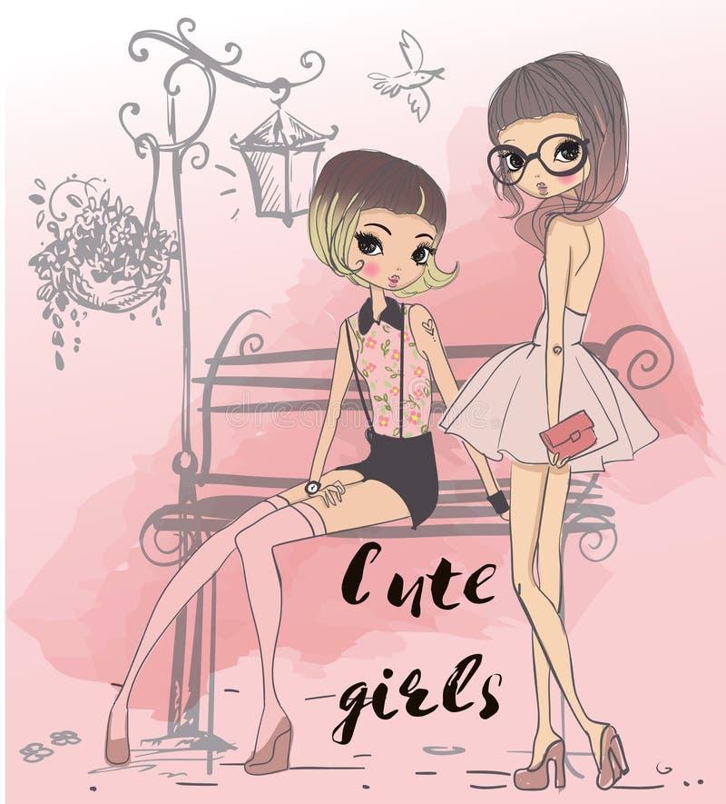 Meninas bonitos dos desenhos animados ilustração stock