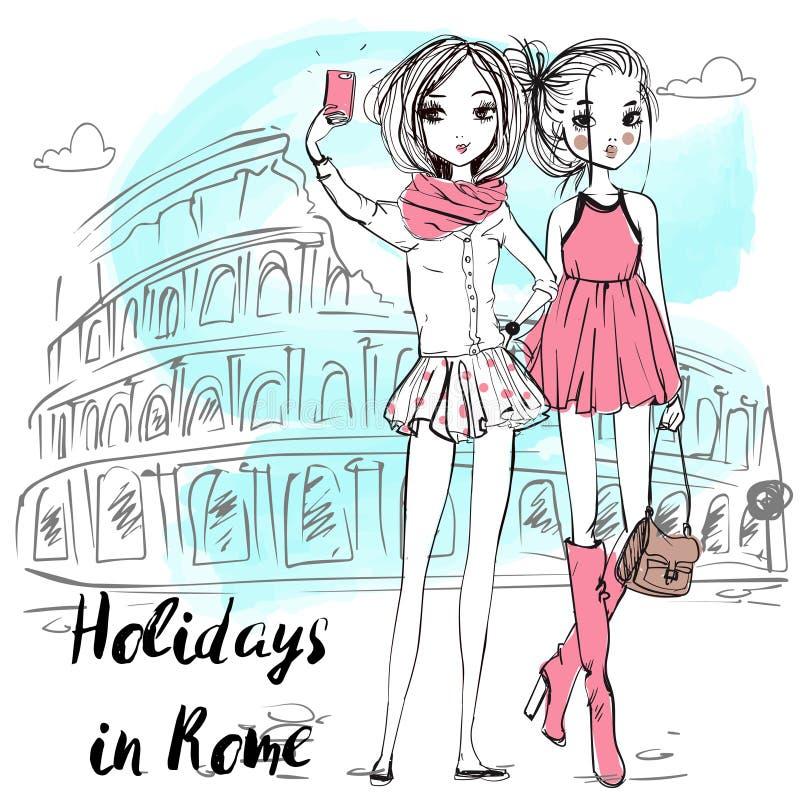 Meninas bonitos dos desenhos animados no estilo esboçado ilustração stock
