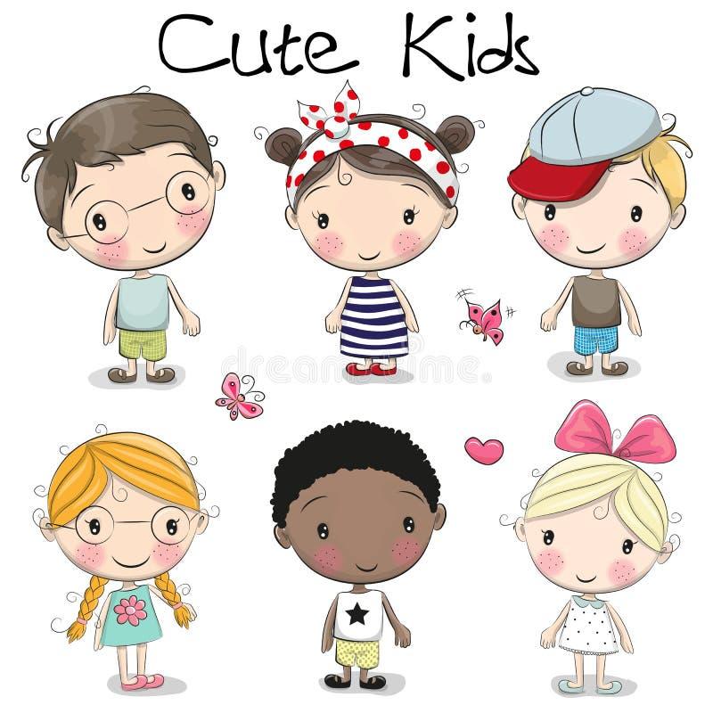 Meninas bonitos e meninos dos desenhos animados ilustração stock