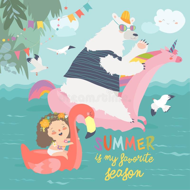 Meninas bonitos e urso polar com círculos nadadores ilustração do vetor