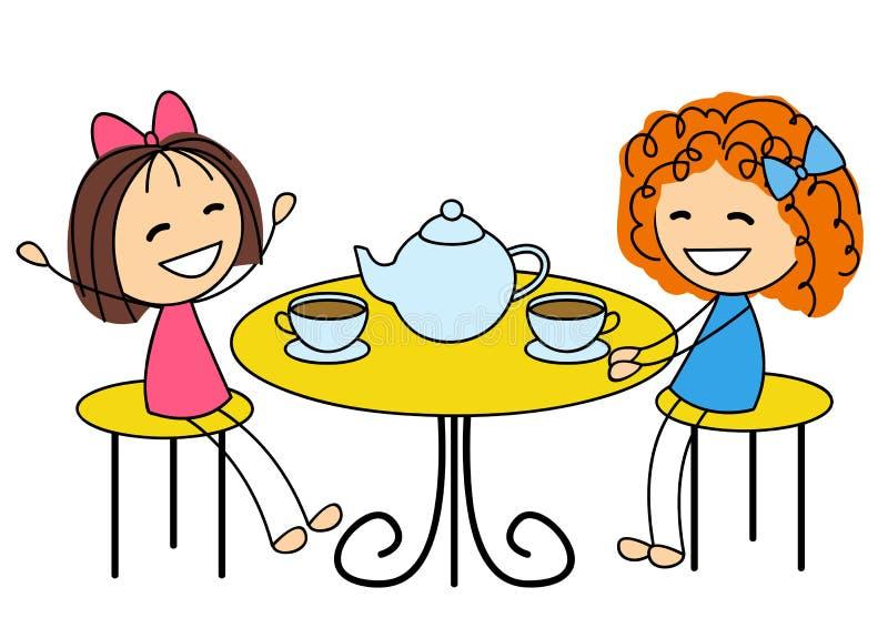 Meninas bonitos que bebem o chá ilustração royalty free
