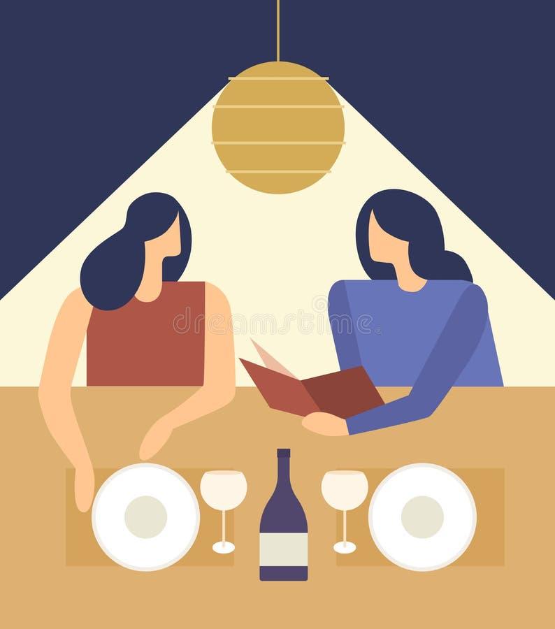 Meninas bonitos que escolhem de um menu do restaurante ilustração royalty free