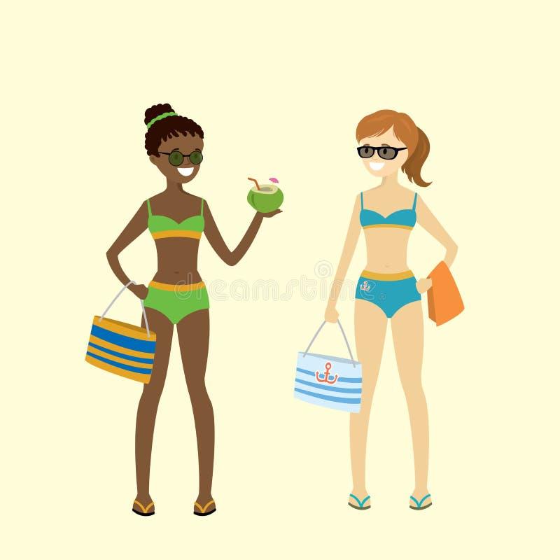 Meninas caucasianos e afro-americanos dos desenhos animados nos roupas de banho ilustração royalty free