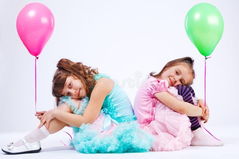 Meninas com balões fotos de stock royalty free