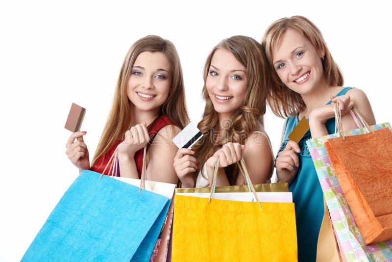 Meninas com cartões de crédito imagem de stock